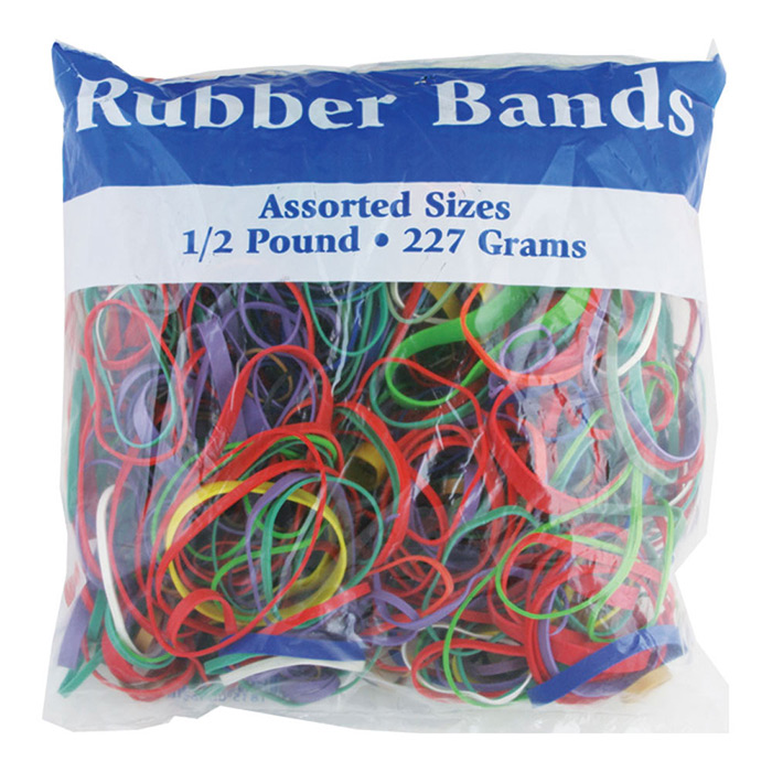 Assorted Dimensions 227g/ 0.5 lbs. Rubber Bands, Case of 48