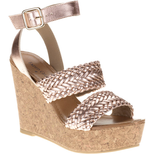 Faded Glory Women's Rose Woven Metallic Wedge Sandals