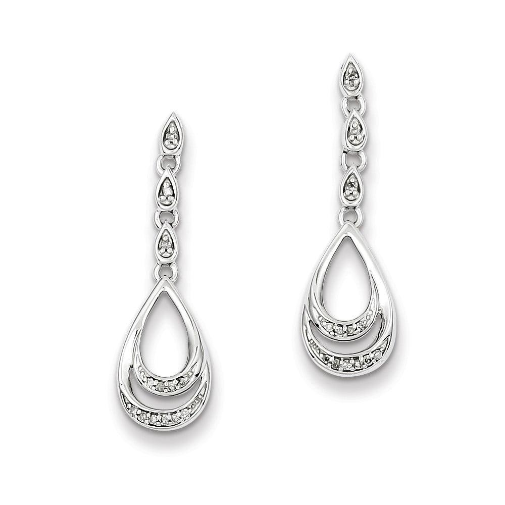 Sterling Silver Diamond Double Teardrop Post Dangle Earrings. Carat Wt- 0.08ct (1IN x 0.3IN )