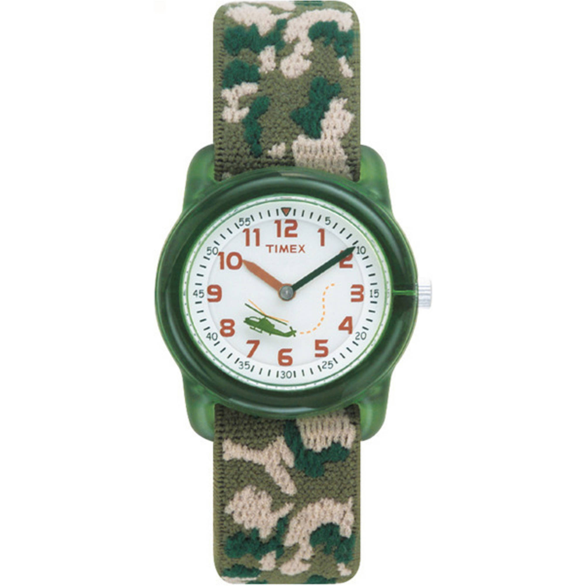 Timex Kids' Green Analog Watch, Camo Elastic Fabric Strap