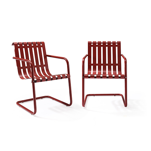 Crosley Gracie Stainless Steel Chair Red 2pc 1carton
