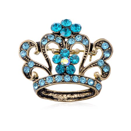 King Queen Sapphire Royal Aqua Blue Crystal Rhinestones Crown Costume Brooch - 80s Prom King And Queen Costume