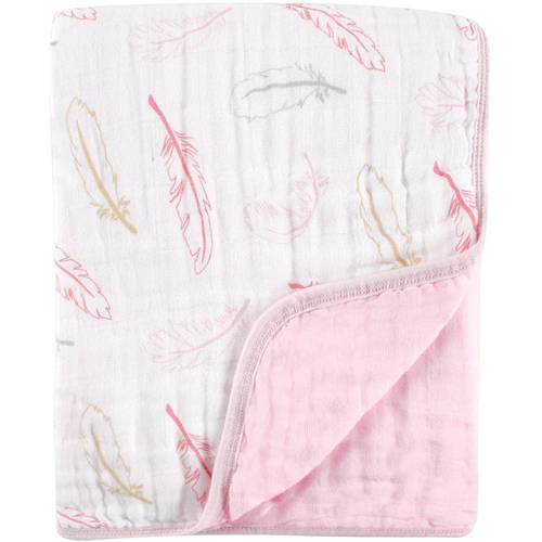 Hudson Baby Tranquility Dream Muslin Blanket - Blue Feather