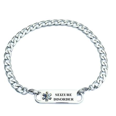 Universal Medical Data Curb Link Seizure Disorder Alert Id Bracelets For Women