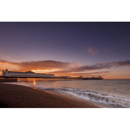 Brighton Pier and beach at sunrise, Brighton, East Sussex, Sussex, England, United Kingdom, Europe Print Wall Art By Andrew Sproule
