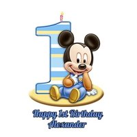 Baby Mickey Mouse 1st Birthday  Edible Cake Topper Image