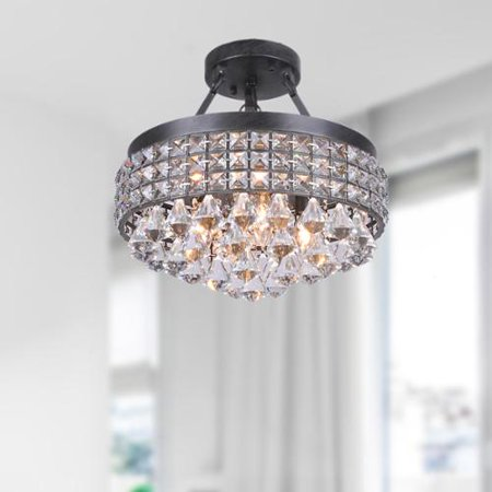 (The Lighting Store Antonia 4-light Crystal Semi-flush Mount Chandelier with Antique Black Iron Shade)
