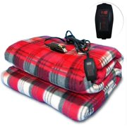 Zone Tech Car Heated Travel Blanket  Plaid 12V Automotive Comfortable Heating Car Seat Blanket Great for Summer