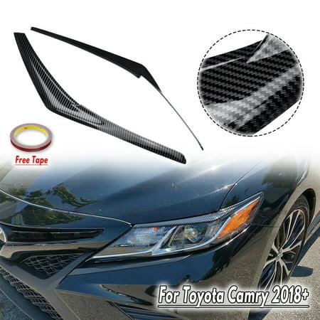 For 2018-2019 Toyota Camry Carbon Fiber Color Headlight Eyelid Cover Eyebrows Carbon Headlight Covers