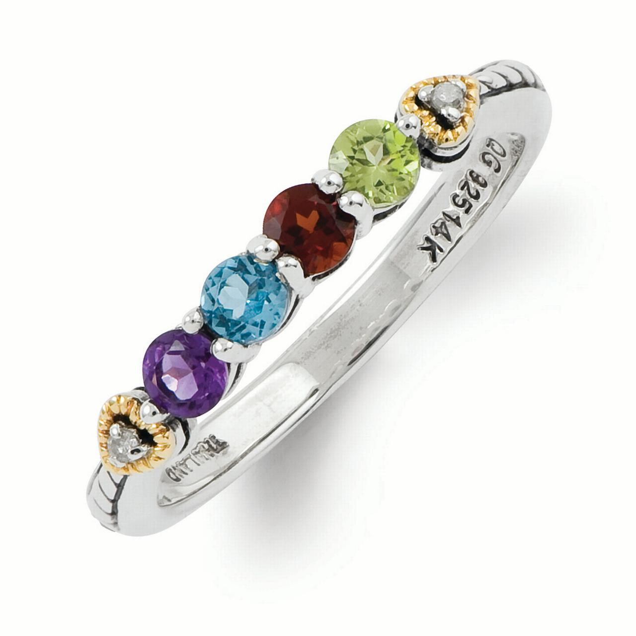 Sterling Silver & 14k Four-stone and Diamond Mother's Semi-Mount Ring