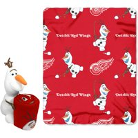 "Official NHL and Disney Cobrand Detroit Red Wings Olaf Hugger Character Shaped Pillow and 40""x 50"" Fleece Throw Set"