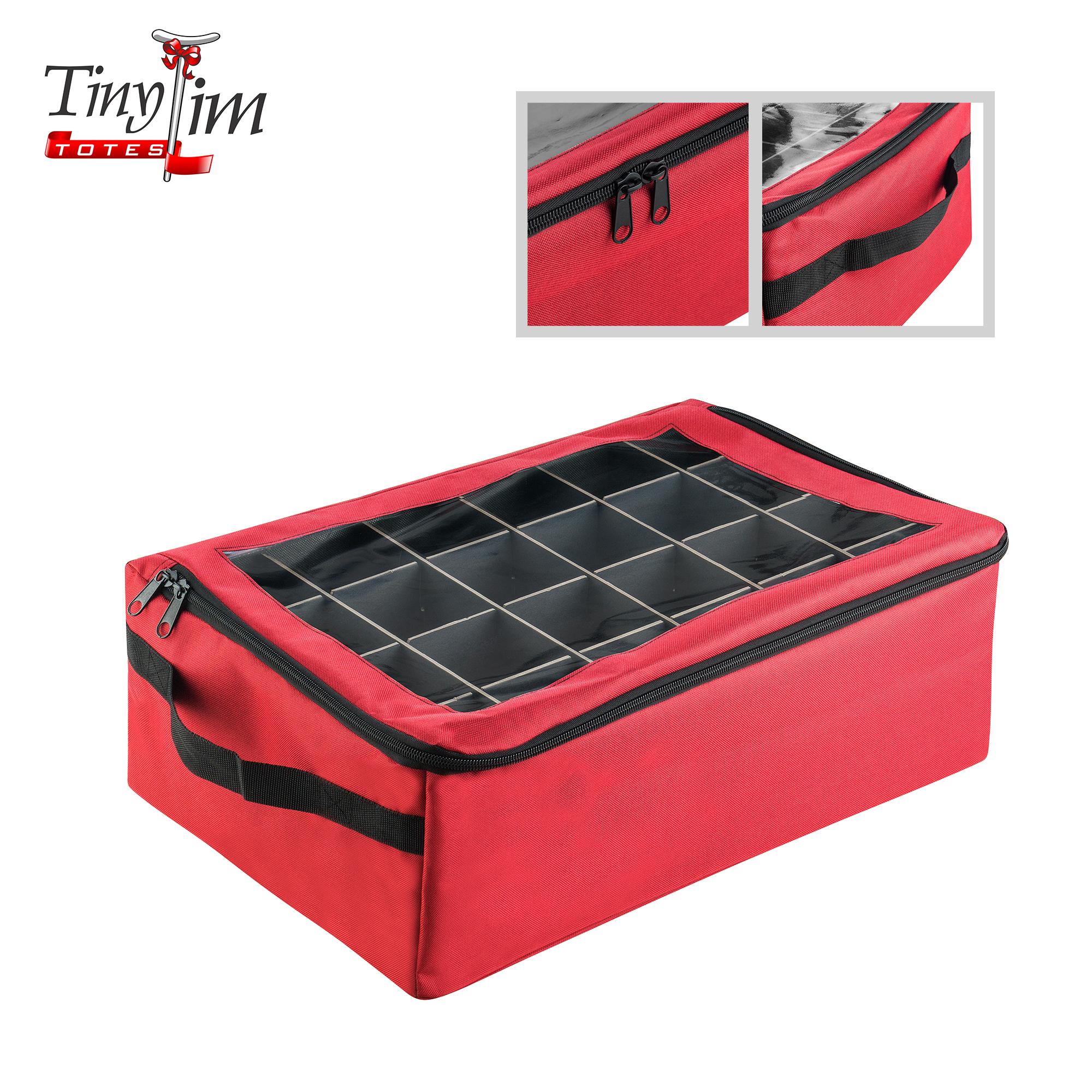 Tiny Tim Totes | Premium | 48 Christmas Ornament Organizer Storage Box | Red