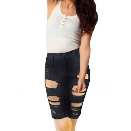 SkylineWears Womens Distressed Bermuda Casual Fashion Denim Stretchy Mid Rise Jeans Shorts Black Small