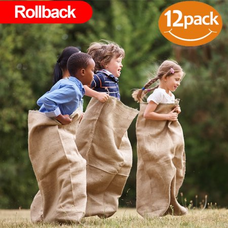 "ToysOpoly Premium Burlap Potato Sack Race Bags 24"" x 40"" (Pack of 12) - of Sturdy Rugged, 100% Natural Eco-Friendly Jute , Perfect Birthday Party Game For Kids & Adults"
