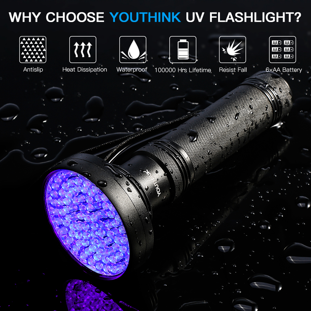 UV Handheld 100 LED Blacklight Scorpion 395nm Violet Flashlight Detection Torch Light for Dog Urine, Pet Stains and Bed Bug