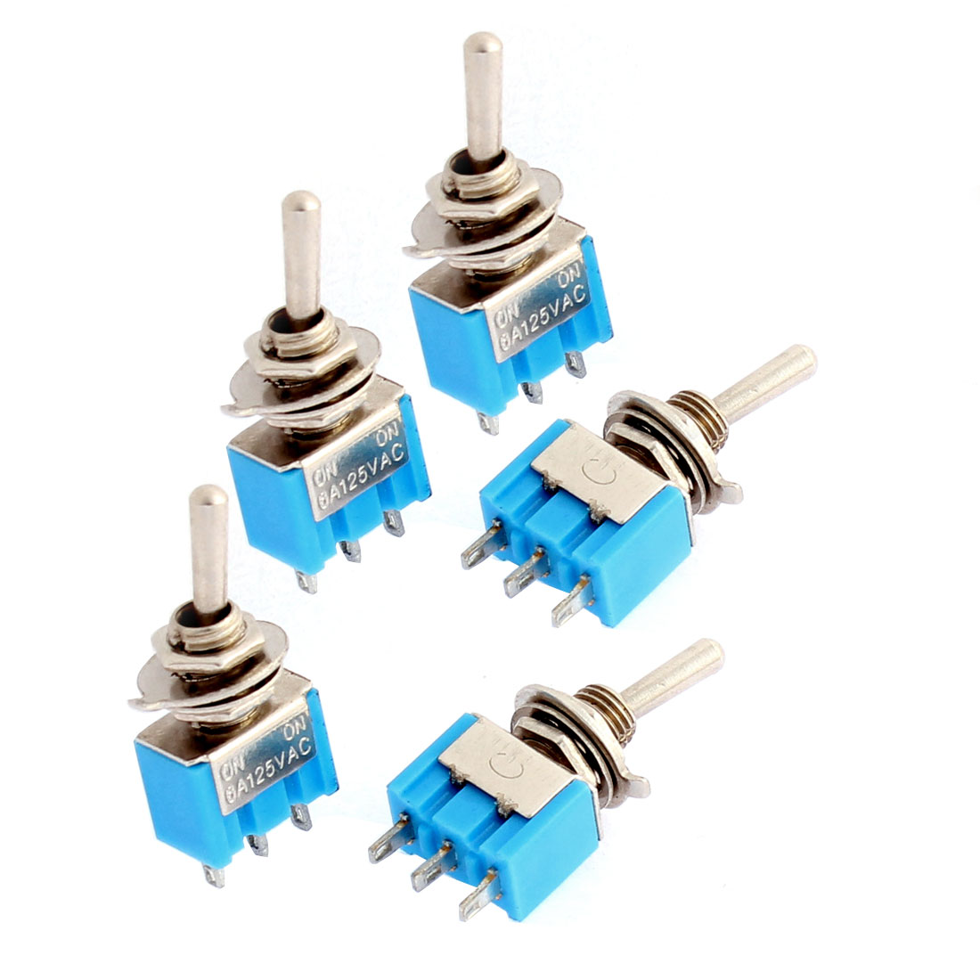 5Pcs AC 125V/6A 3 Terminals ON/ON 2 Way Motorcycle Latching Toggle Switch