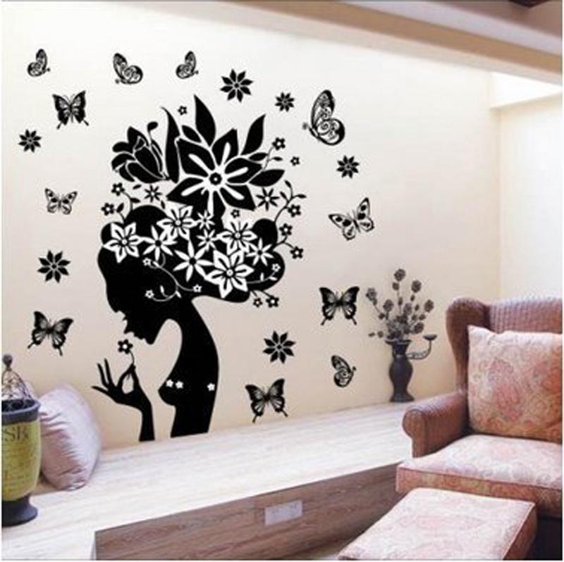 Pretty Butterfly Flower Fairy Girl PVC Wall Sticker Home Decor Decals