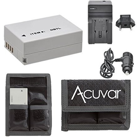 NB-7L Rechargeable Battery + Car / Home Charger + Acuvar Battery Pouch For Canon CB-2LZ, 2LZE, PowerShot G10, G11, G12, SX30, IS DX1, HS9, SX5 &