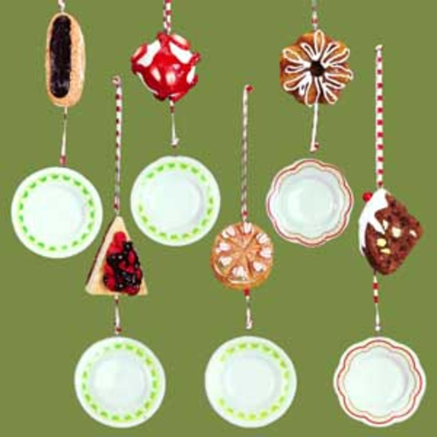 Set Of 6 Dangling Cake Plates With Desserts Christmas Ornaments - image 1 de 1