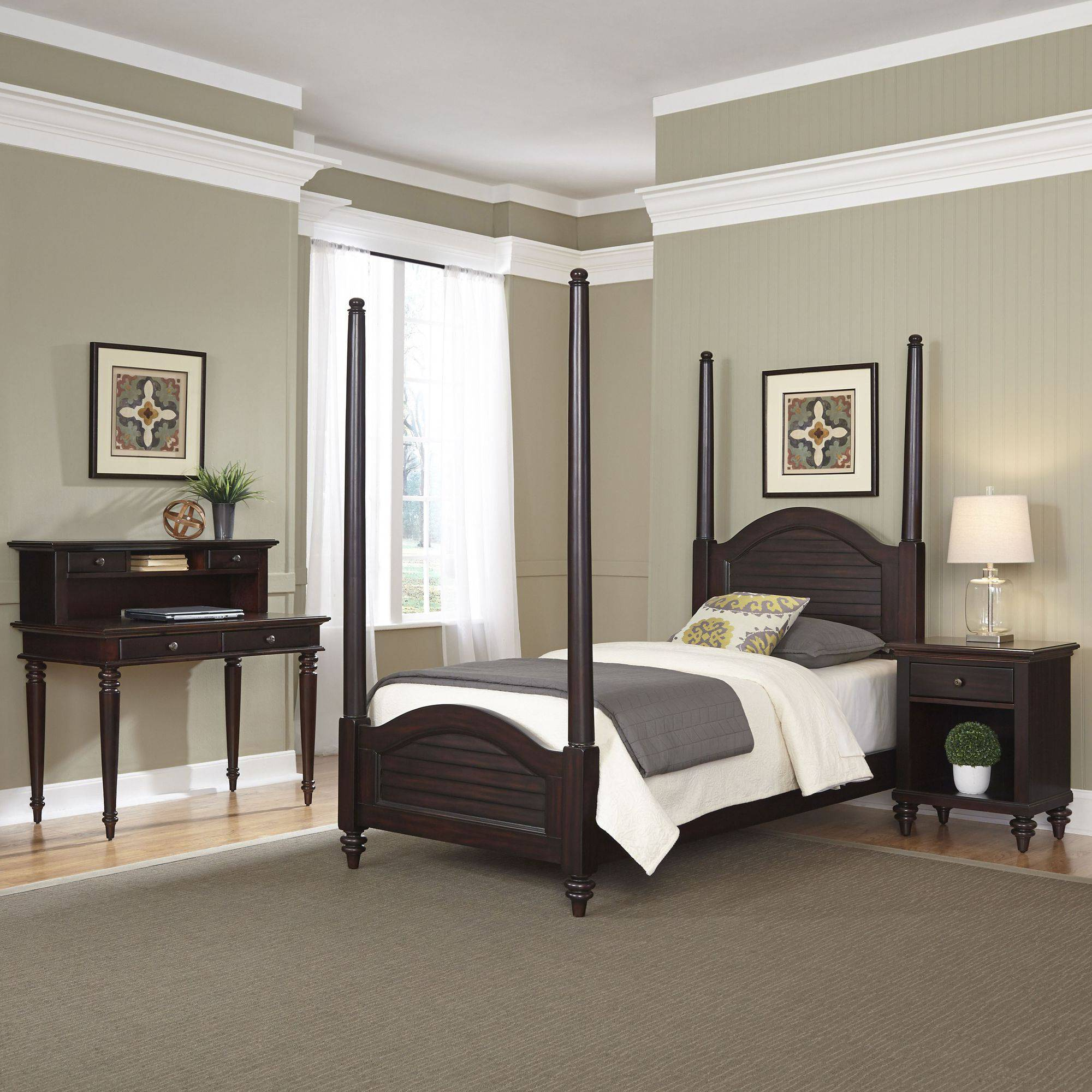 Home Styles Furniture Bermuda Espresso Twin Poster Bed, Night Stand and Student Desk with Hutch