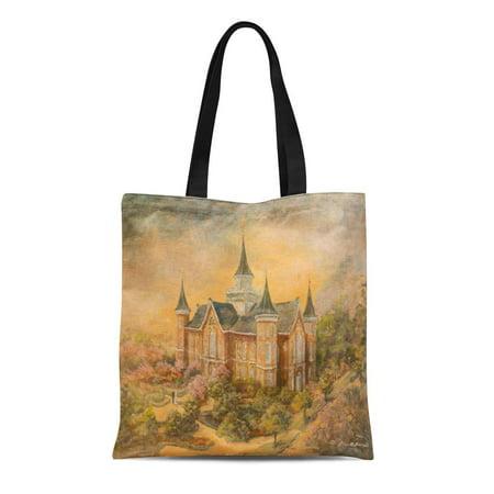 KDAGR Canvas Tote Bag Mormon Lds Provo City Center Tabernacle Landscape Architecture Earth Reusable Handbag Shoulder Grocery Shopping Bags