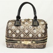 Gold Glitter Accent Croc Pattern Zipper Hand Bag Purse