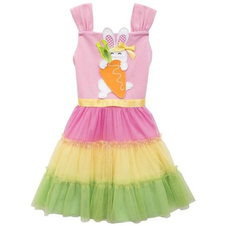 Rare Editions Little Girls Easter Bunny Color Block Dress (Rare Editions Easter Dress)