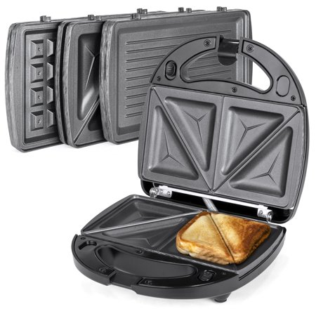 Best Choice Products 3-in-1 750W Dishwasher Safe Non-Stick Stainless Steel Electric Sandwich Waffle Panini Maker Press w/ 3 Interchangeable Grill Plates, Auto Shut Down, LED Indicator Light - Black (4 Slice Sandwich Maker)