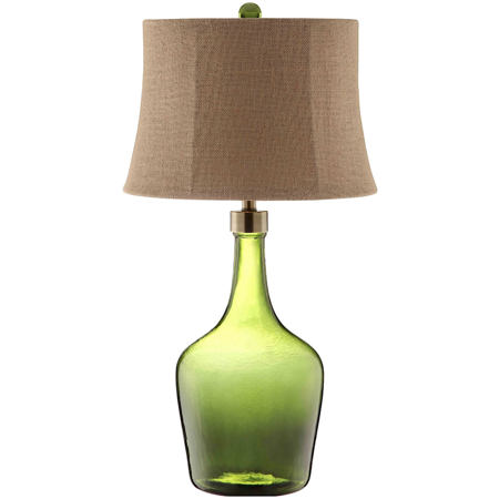 Table Lamps 1 Light Fixtures With Green Finish Glass Steel Material A-15 Bulb 17 inch Wide 100 Watts (Green Glass Lamp)