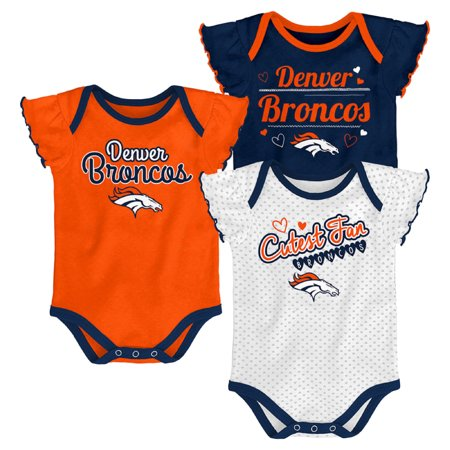Girls Newborn & Infant Navy/Orange/White Denver Broncos 3-Pack Bodysuit - Denver Broncos Football Baby Onesie