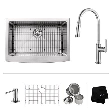 KRAUS 30 Inch Farmhouse Single Bowl Stainless Steel Kitchen Sink with Nola Pull Down Kitchen Faucet & Soap Dispenser in Chrome