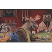 Wallpaper Border - Animals Playing Poker Cards Wall Border for Cottage Kitchen Bathroom Living Room, Roll 15 ft X 9 in