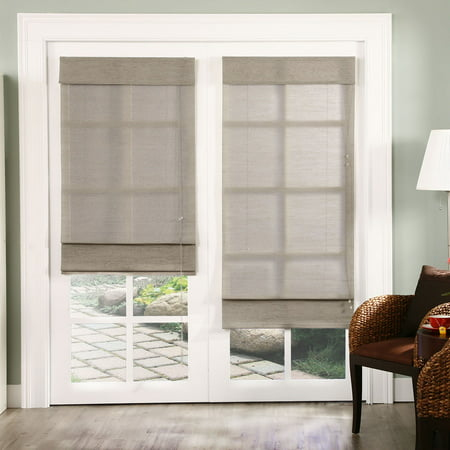 Chicology Standard Cord Lift Roman Shade, Nevada - Natural Woven, Privacy - Nevada Timberwolf, 60