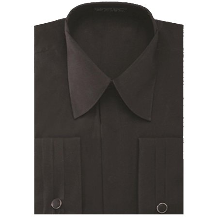 men's pleated french cuff pat riley collar dress shirt with (White Blazer With Black Collar For Mens)