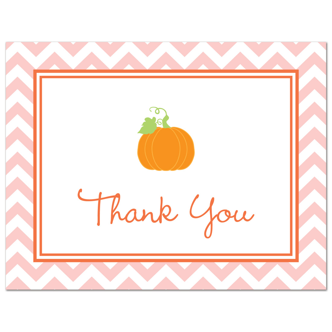 Pink Chevron Pumpkin Thank You Cards and Envelopes - 50 count
