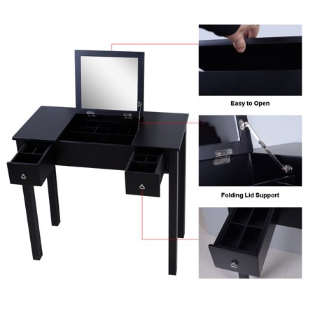 Organizedlife Black Mirror Makeup Desk Vanity Table with Accessories Storage Organize Drawers (Makeup Mirror Desk)