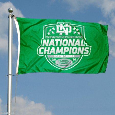North Dakota Fighting Hawks Mens Hockey 2016 Champs 3' x 5' Pole Flag