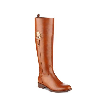 Tommy Hilfiger Womens Ilia2 Leather Almond Toe Knee High Riding, Brown, Size 9.0 ()