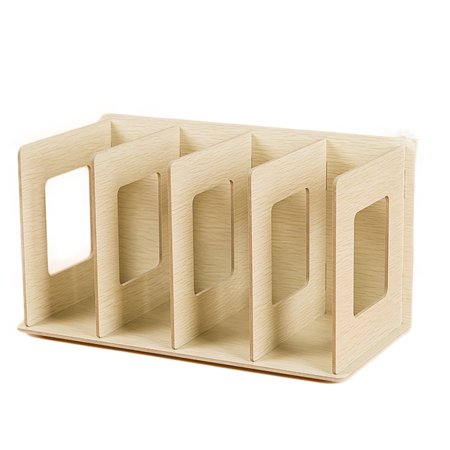 Creative Wooden DIY Desktop Book CD Storage Sorting Bookends Office Carrying Shelves - (Desk Bookends)