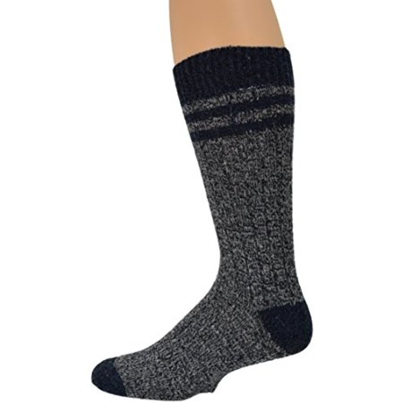 Sierra Socks Wool Crew Marled Men 2 Pair Pack Hunting and Hiking Socks (Fits Shoe Size 9-12, Socks 10-13, Navy)
