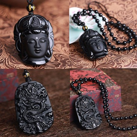 Black Natural Obsidian Hand Carved Bodhisattva Lucky Blessing Pendant Necklace (Hand Carved Jewelry)