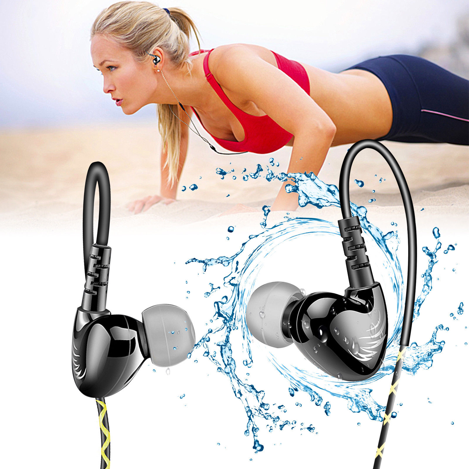 EEEKit Sports Headphones Earbuds With Microphone, Sweatproof Noise Cancelling Earphones, HIFI Stereo, Crystal Clear Sound, Ergonomic Design for Running