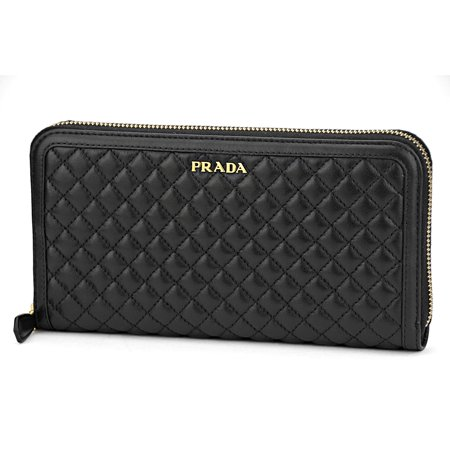 Prada Womens 1ML506 2EZ5 Soft Calf Quilt Leather Wallet Nero (Prada Nylon Wallet)