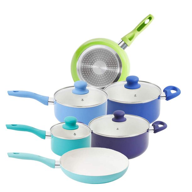 Mainstays 10 Piece White Ceramic Non-stick Cookware Set, Cool