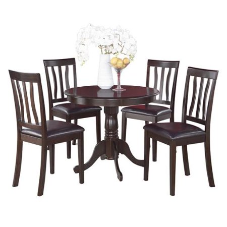 Cappuccino Kitchen Table and 4 Chairs 5-piece Dining Set Faux leather