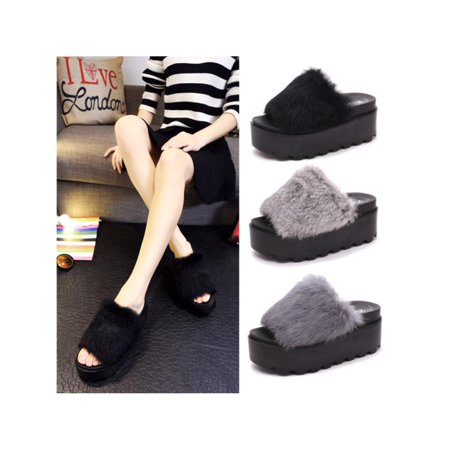 Women Platform Fur Slippers Flat Sandals Fluffy Furry Mules Slides Slip On Shoes - Furry Vans