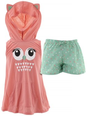 dELiA*s Girls Owl Coral Hooded Short Pajamas