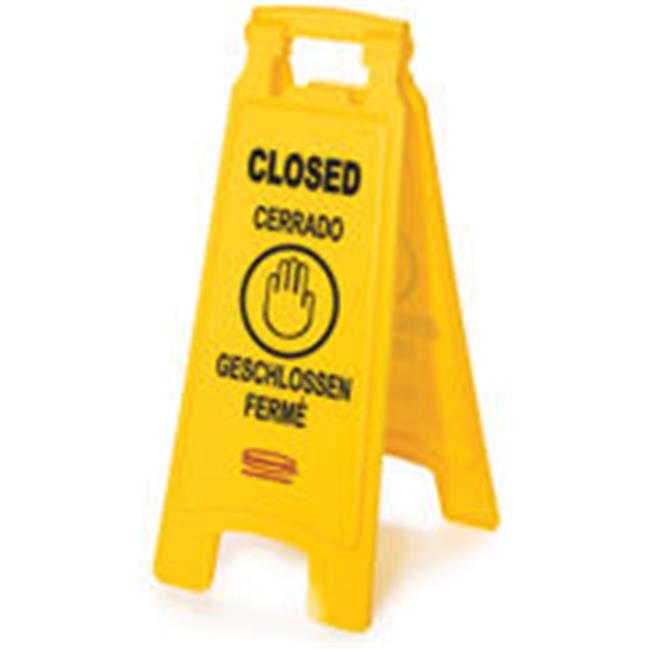 Rubbermaid Commercial Products 611278YEL Floor Sign With Multi-Lingual Closed Imprint, 2 Sided