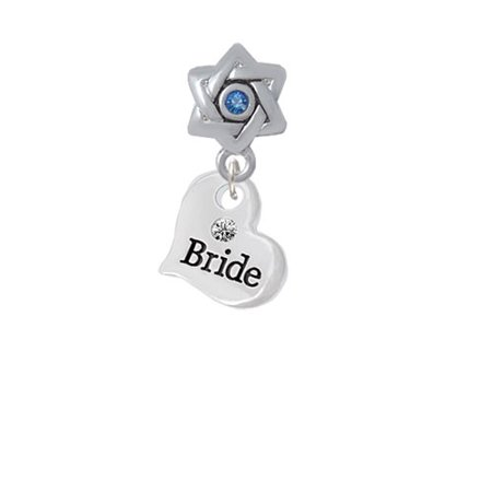 Small Bride Heart   Star Of David With Blue Crystal Charm Bead
