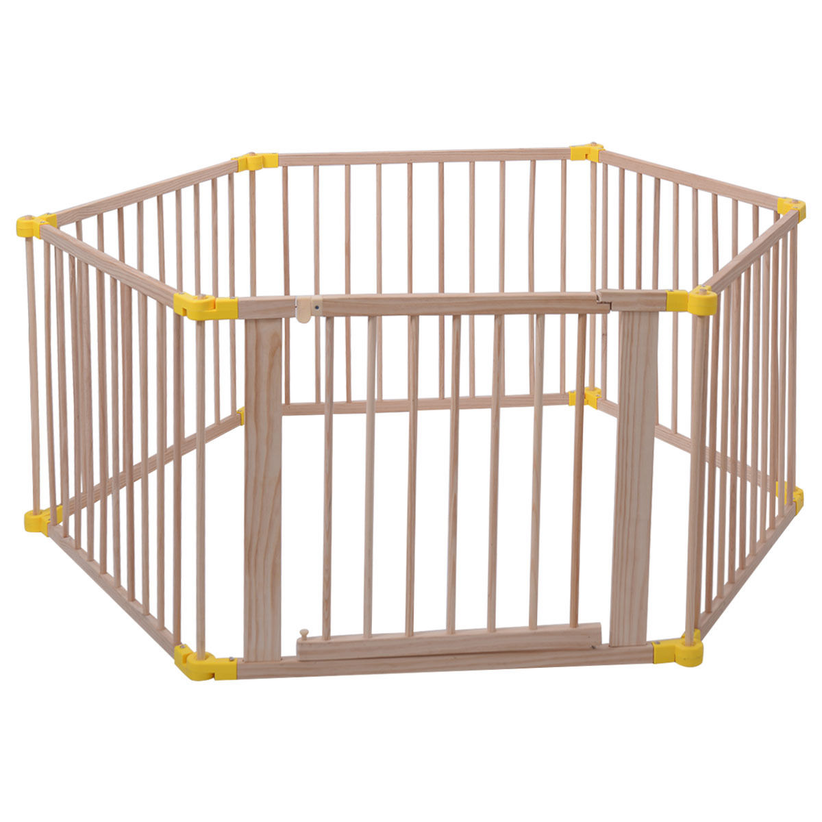 Goplus Baby Playpen 6 Panel Foldable Wooden Frame Kids Safety Play Fence In/Outdoor